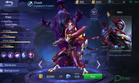 zhask mobile legends skin crystallized predator